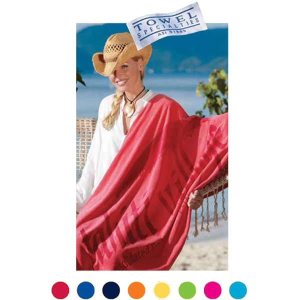 Tone On Tone On Color Towel - Basic Weight 100% Cotton Terry Beach Towel, With Dobby End Hem Borders Photo