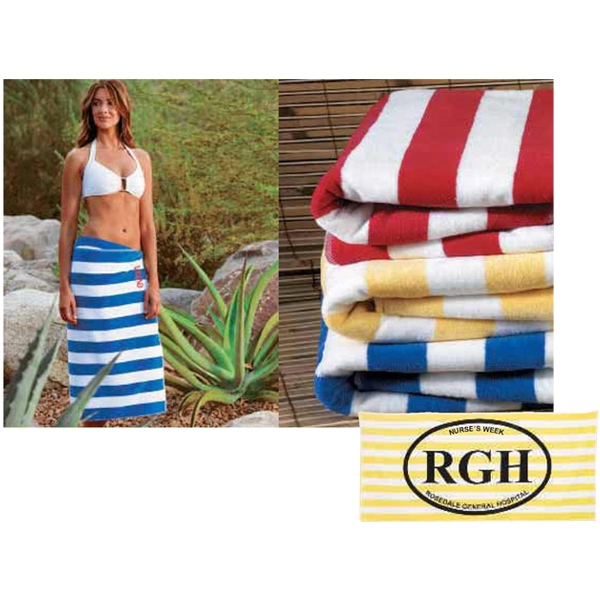 "Turkish Signature (tm) - Embroidered - Basic Weight Striped Towel. 30"" X 60"" Photo"