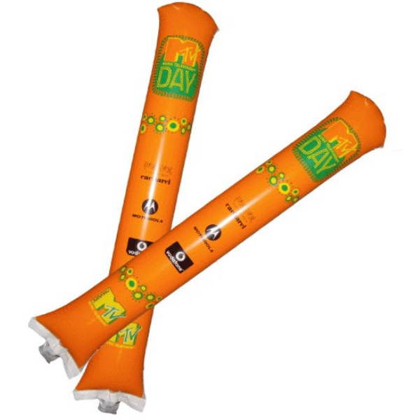 "Inflatable Noisemaker Thunderstick Cheering Stix Bam Stick - Uninflated 24"" x 4"" tube shape noisemakers, cheering sticks."