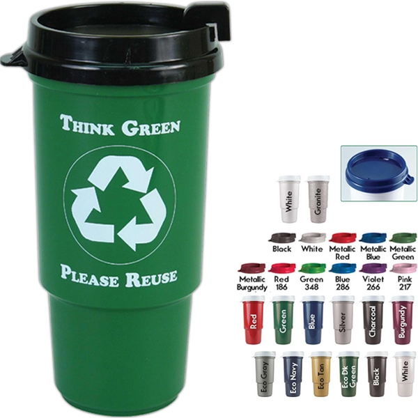 Personal Refillables (tm) - Insulated Recycled Auto Cup With Thumb Slide Lid, Bpa Free, 16 Oz. Size Photo