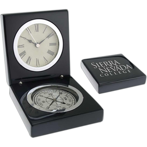 Magellan Windsor Collection - Clock With Compass In Black Piano Wood Box Photo