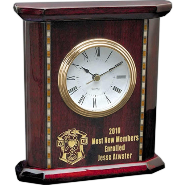 Homestead Windsor Collection - Desk Clock With A Stunning Inlay Design Photo