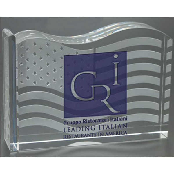 Old Glory Windsor Collection - This Award Flag Motif Is Deep Etched On The Back Face Of The Optical Crystal Design Photo