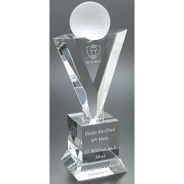 Oxford Windsor Collection - Large Oxford Trophy - Golf Trophy Award With Affixed Golf Ball Photo