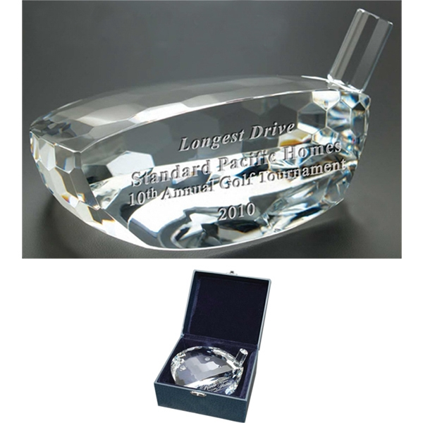 Commander Windsor Collection - Large Commander Trophy - This Golf Club Head Shaped Award Is Made Of Optical Crystal Photo