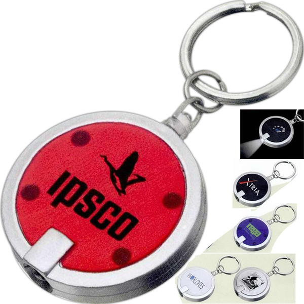 The Disc - Single White Led Light Key Chain With Push-button Power On Back Photo