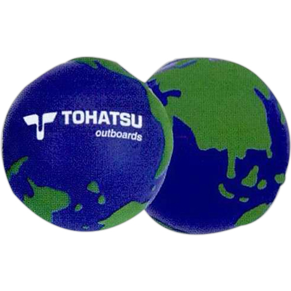 World Stress Reliever. Squeezable Foam Stress Ball. Blue With Green Continents Photo