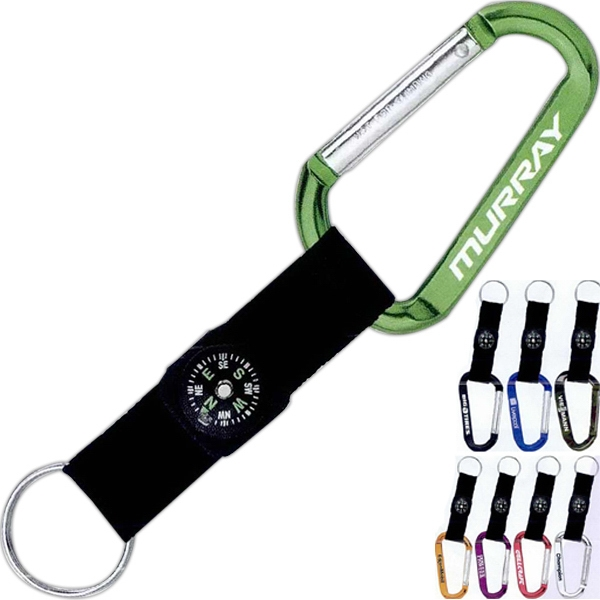 Carabiner, 8 Mm, With Compass. Nylon Strap And Split Key Ring Photo