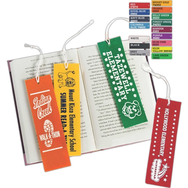"Colorful, Rigid Felt Bookmark With A White Tassel, 2"" X 7"" Photo"