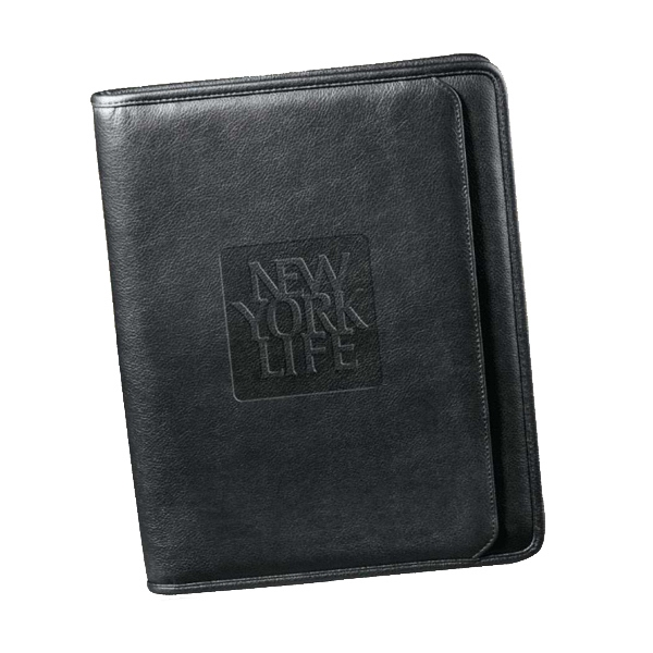 Manhattan - Genuine Pebble Grain Leather Zippered Padfolio With Pad And Gusseted File Pocket Photo