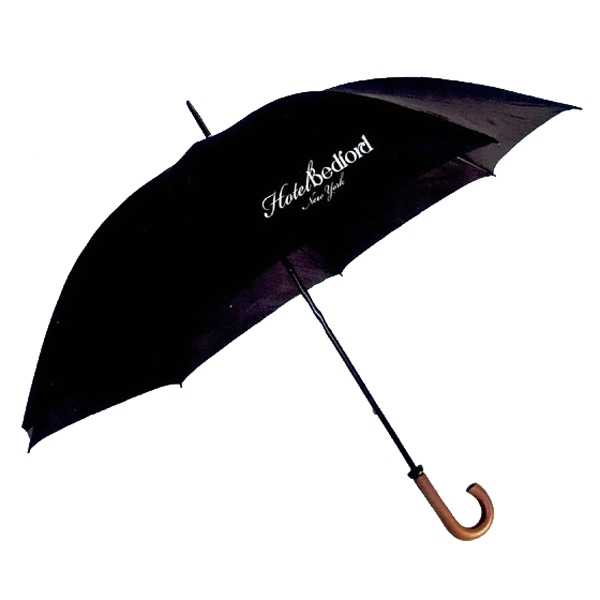 "Doorman - 60"" Arc Umbrella. Solid Wood Hook Handle Made Of Nylon Photo"
