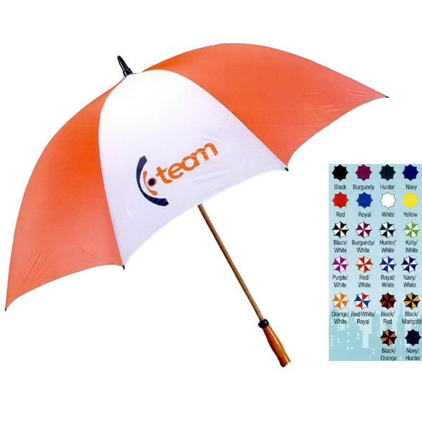 "The Mulligan - Windproof Nylon 64"" Arc Golf Umbrella With Fiberglass Shaft With Wood-grain Finish Photo"