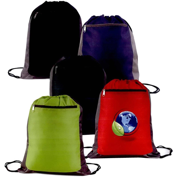 "Apex - Cinch Backpack Made Of 210 Denier Nylon, 14"" X 17 1/4"" Photo"