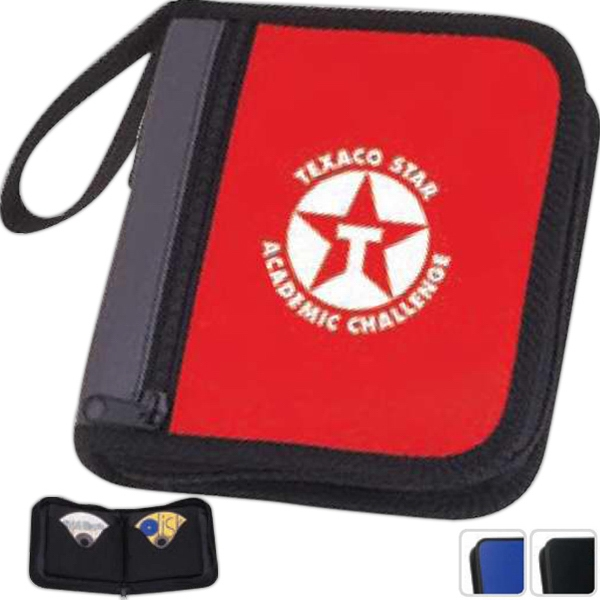 Two Tone - Cd Case. Holds 24 Discs. Front Zippered Pocket Photo