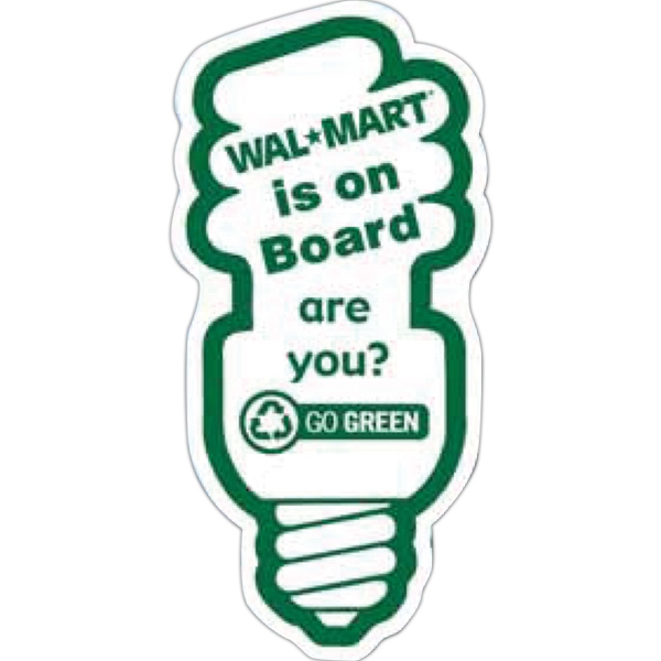 Go Green Fluorescent Lightbulb Magnet - Compact fluorescent light bulb shape magnet on 10% post consumer recycled paper.