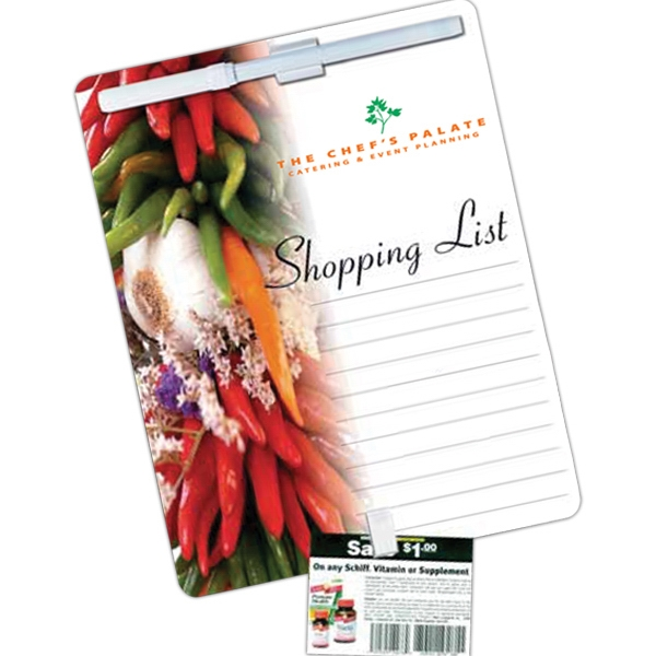 Stock Magnetic Memo Board, With Clip To Hold Coupons, Wet Erasable Pen & Pen Clip Photo