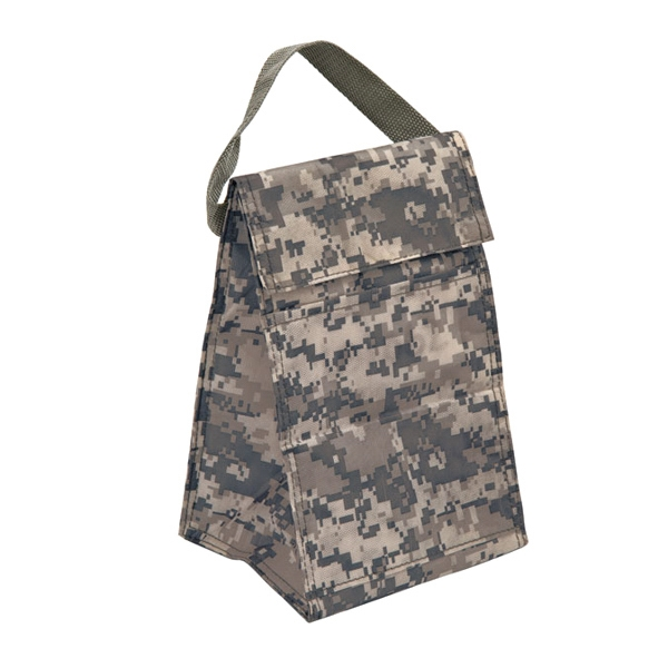 Cooler - Digital camouflage lunch bag. Insulated main compartment, blank.