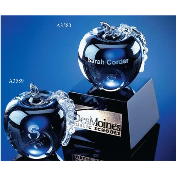 Crystal Apple Award With Marble Base Photo