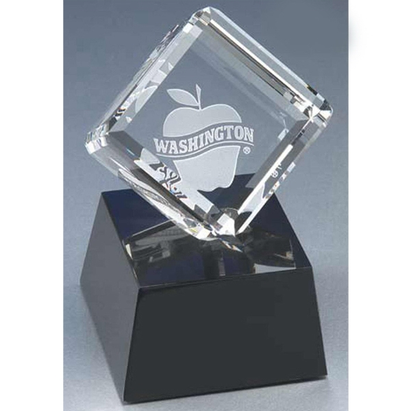 Optimaxx (c) - Optical Crystal Cube Award With Marble Base Photo