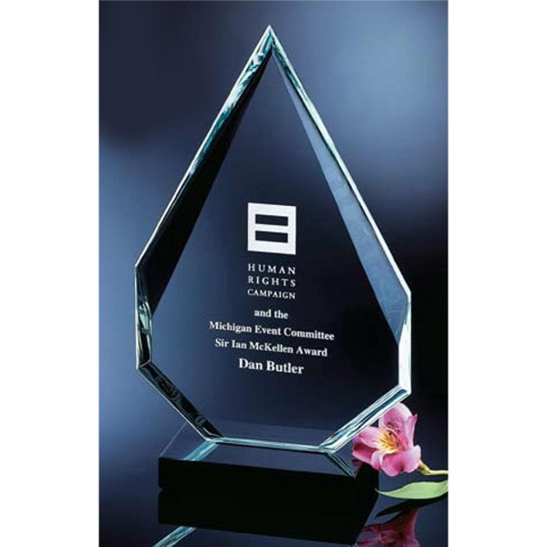 Multifaceted Angular Flame Award With Marble Base Photo