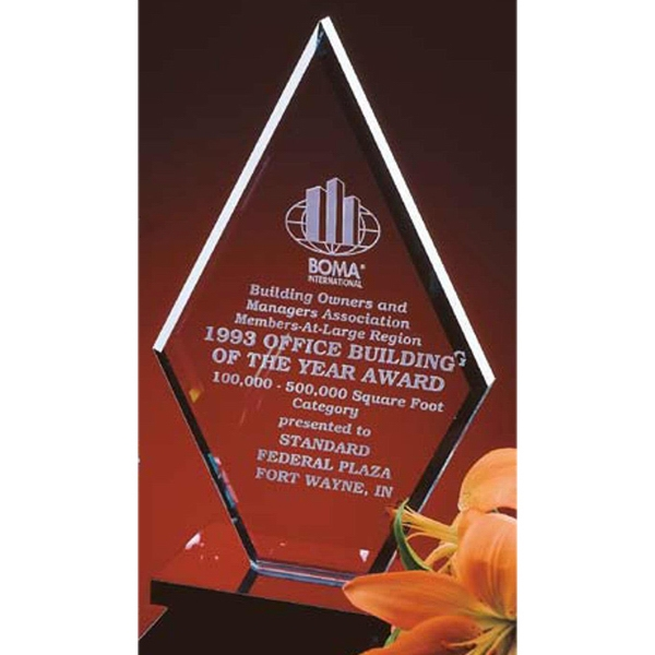 "8"" Crystal Clear Diamond Award Photo"