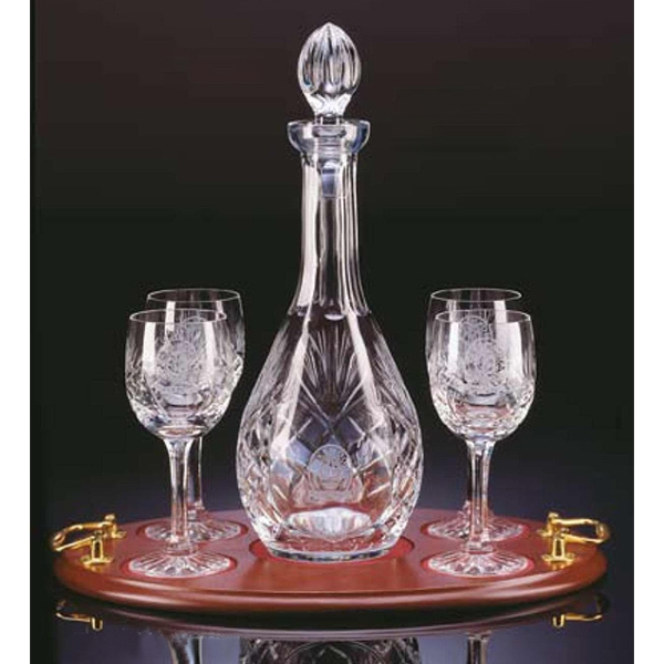 Westgate Crystal (tm);windsor - Five Piece Wine Decanter With Four Wine Glasses Set Photo