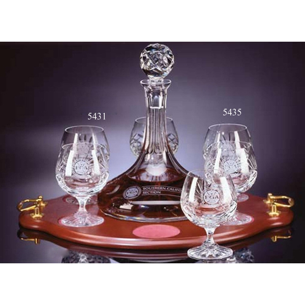 Westgate Crystal (tm) - Three Piece Ship's Decanter And Two Brandy Glasses Photo