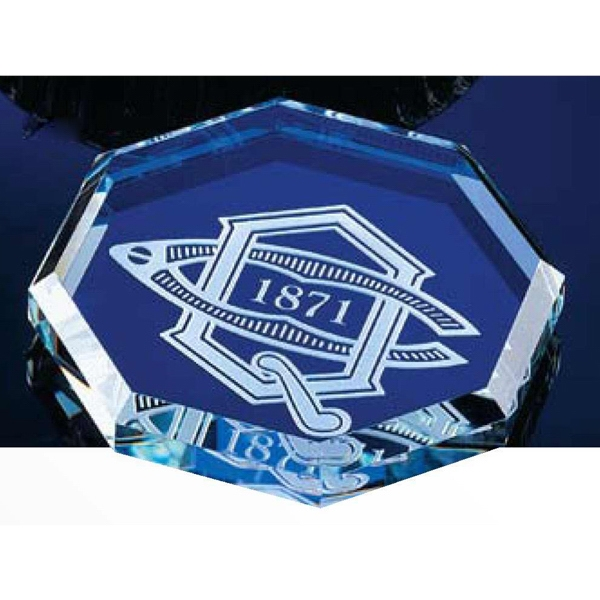 Octagon Crystal Paperweight With Beveled Edges Photo