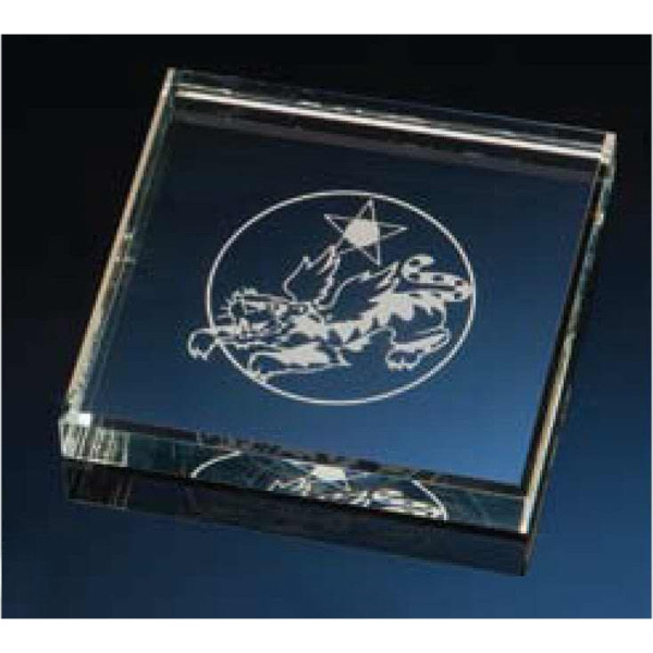 Square Clear Glass Paperweight Photo