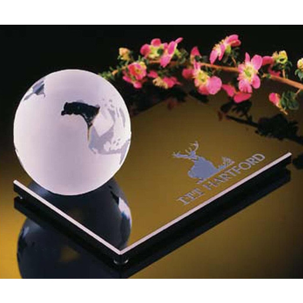 "3"" Crystal Globe On Black Base Photo"