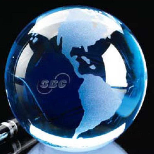 "Blue 3"" Crystal Globe With Clear Oceans And Etched Continents Photo"