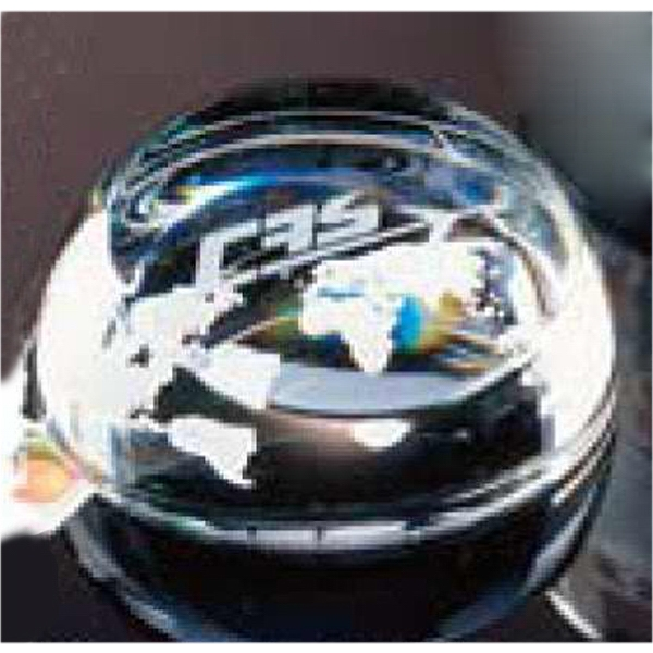 Full 24% Lead Crystal Paperweight With World Projection Photo