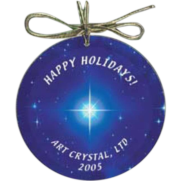 Nanobrite (c) - Circle Glass Ornament Packaged In A Gift Box With Gold Hang Tag Photo