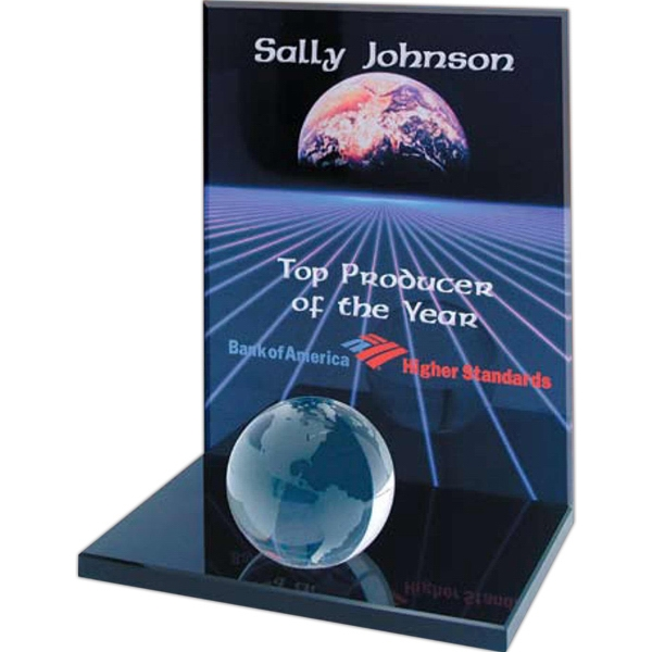 Nanobrite (c) - Crystal Clear Plaque Award On A Black Glass Base With Optical Crystal Globe Photo