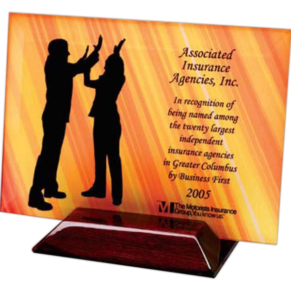 Nanobrite (c) - Beveled Rectangular Award With Slotted Piano Finish Base Photo