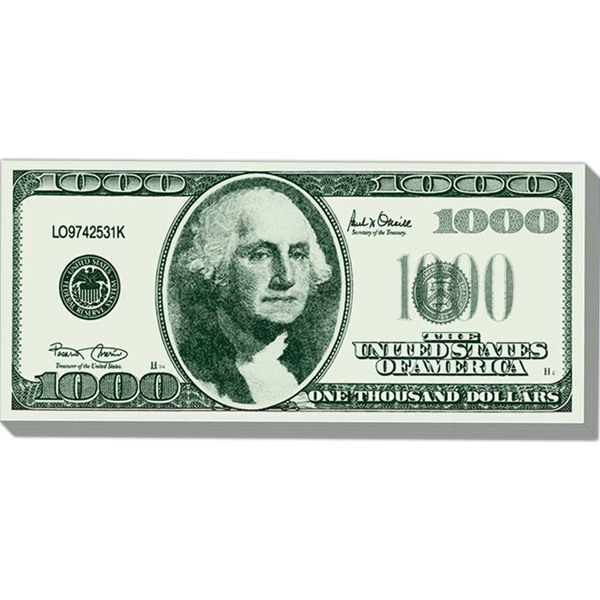 "Big Bucks - 50 Sheets Pad - Note Pad With One Thousand Dollar Federal Note Design, 3 1/2"" X 7 13/16"" Photo"