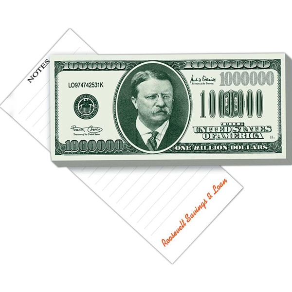 "Big Bucks - 50 Sheet Pad - Note Pad With Million Dollar Federal Reserve Note Design, 3 1/2"" X 7 13/16"" Photo"