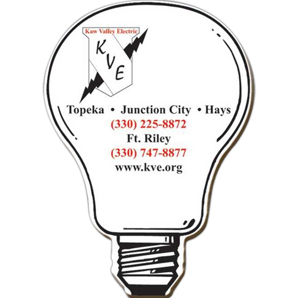 "Light Bulb - Small, Die Cut Shape Magnet, 25 Mil. Thickness, Die Cut Out Of 2 7/8"" X 2 7/8"" Photo"