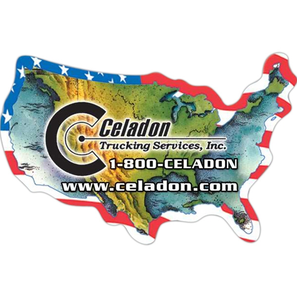 U.s.a Flag Design Around The U.s.a Map Outline Magnet - Small, Die Cut Shape Magnet With Outline Of United States Map And A Flag Design Photo