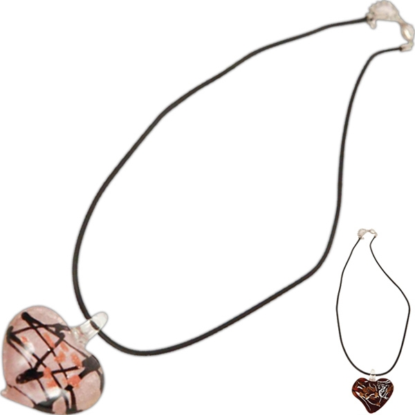 Bret Roberts (tm) - Pink - Heart Necklace Made From Dichronic Glass With Gold And Silver Inlays Photo