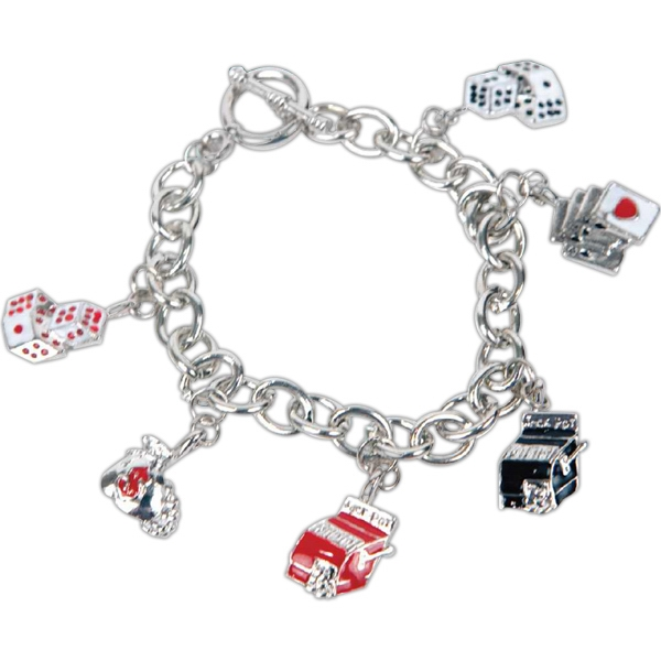 Bret Roberts (tm) - Silver Plated Metal Link Gaming Charm Bracelet Photo