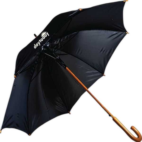 "Rainworthy (r) - Automatic Open, J-handle, 48"" Arc Wood Shaft Umbrella Photo"