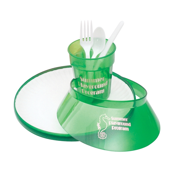 "Jewel - Picnic Kit Includes Flying Disc, Sun Visor, Cup And 9"" Paper Plate And Utensils Photo"