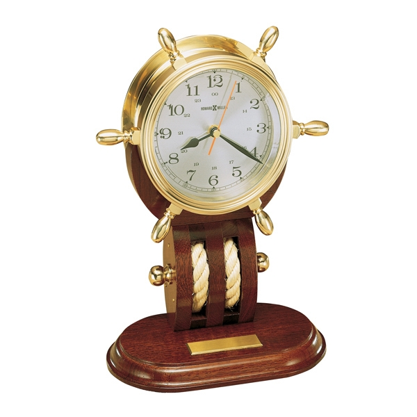 Britannia - Polished And Lacquered Solid Brass Ship's Wheel Clock Rests On A Mahogany Base Photo