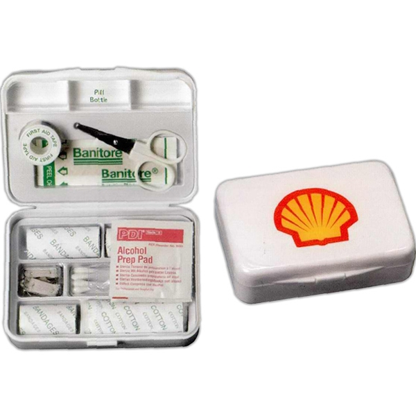20 Piece First Aid Kit With Unique Design Case Has A Built In Pill Container Photo