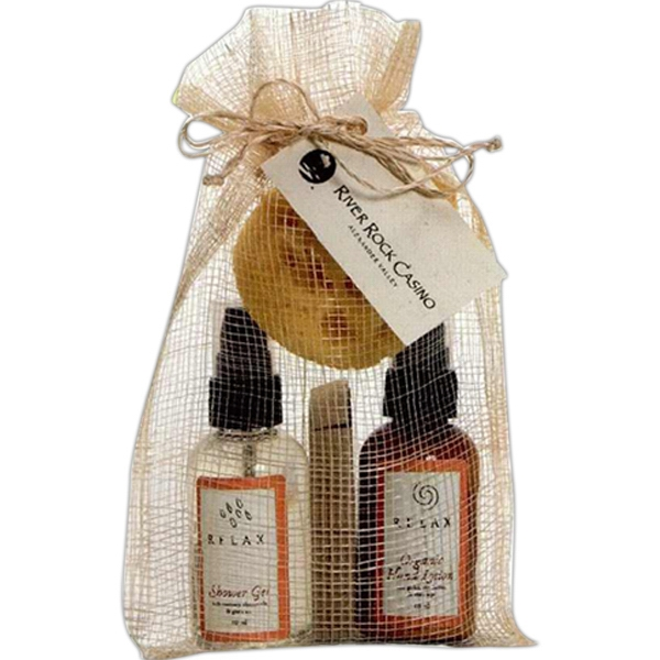 Drawstring Case Contains Organic Body Lotion, Botanical Shower Gel, Soap & Sponge Photo