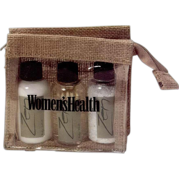 Spa Bag Holds Bath Gel, Body Lotion, Travel Candle, Soap & Wooden Nail Brush Photo