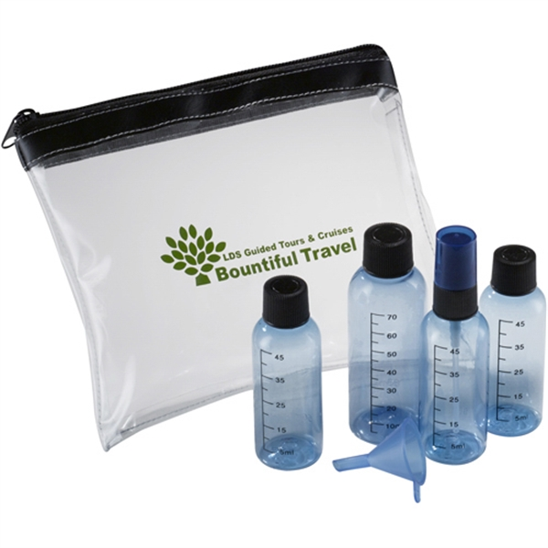 Travel Kit With Four Colored Bottles And Funnel To Transfer Liquids Photo