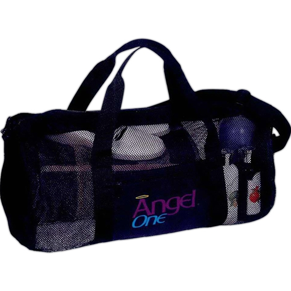 Embroidery - Mesh Roll Bag Has A Zippered Main Compartment And Front Slip Pocket Photo