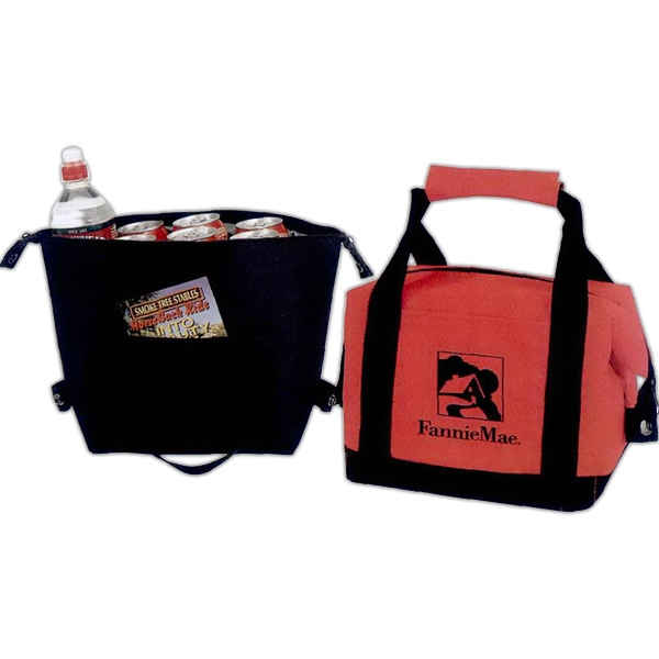 Silkscreen - Six-can Leak-proof Cooler Tote With Front Pocket And Webbed Carrying Handles Photo